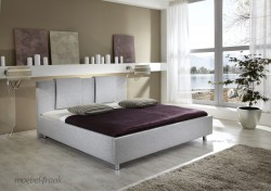polsterbett 140x200 stoff grau bett doppelbett melanie ebay. Black Bedroom Furniture Sets. Home Design Ideas