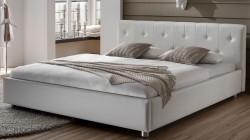 polsterbett weiss 180x200 kunst lederbett komfort bett. Black Bedroom Furniture Sets. Home Design Ideas
