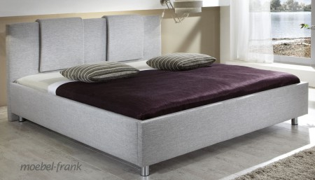 polsterbett stoff grau beige 140x200 cm doppelbett bett bettgestell melanie ebay. Black Bedroom Furniture Sets. Home Design Ideas